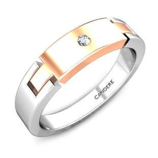 Ortesia Platinum And Rose Gold Diamond Band for Her