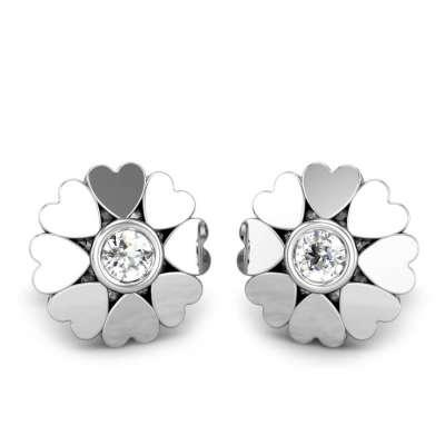 Lotus Heart Diamond Earrings