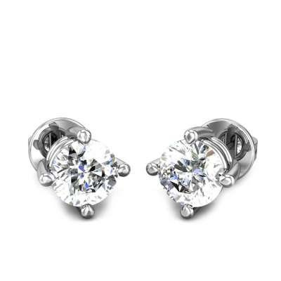 Four Prong Solitaire Diamond Earrings