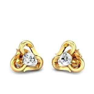 Ribbona Solitaire Diamond Earrings