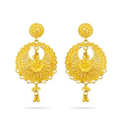 Kumuda Kyra Gold Chandbali Earrings