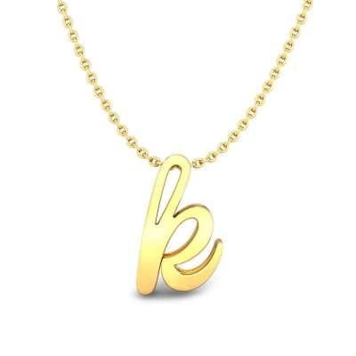 K Initial Gold Pendant With Chain