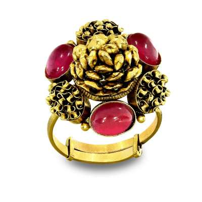 Sani Mudhra Red Gold Cocktail Ring